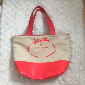 Coral Kate Spade Canvas Tote